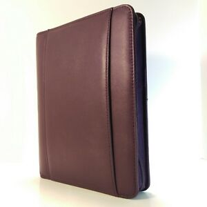 Franklin Covey Livi Eggplant Leather Classic Zipper Planner Binder Organizer