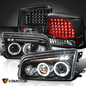 Black 2006 2008 Dodge Charger Halo Led Projector Headlights Led Tail Lights