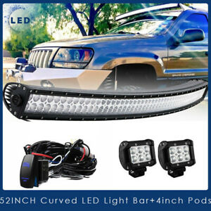 52 Curved Led Light Bar On Roof Top Front 4 For 99 04 Jeep Grand Cherokee Wj