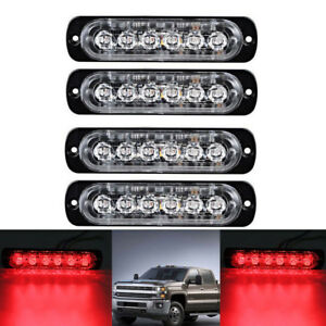 4pcs 6 Led Red Emergency Hazard Warning Beacon Grill Dash Strobe Flash Light 12v