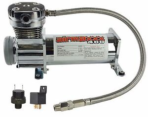 Air Compressor Chrome Airmaxxx 400 For Air Bag Suspension System 90 On 120 Off