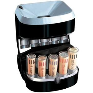Motorized Coin Sorter Counter Wrapper Machine Money Bank Change Automatic 5 Tube