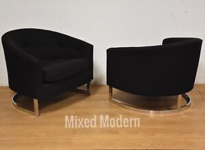 Black And Chrome Mid Centuey Barrel Back Lounge Chairs A Pair