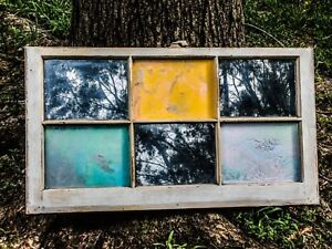 Vintage Distressed Wood Window Frame Painted Wall Decor Silver Mirror Unique