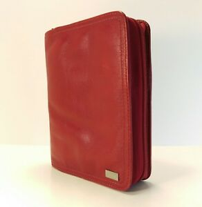Franklin Covey Compact Red Nappa Leather Unstructured Cover Planner Binder