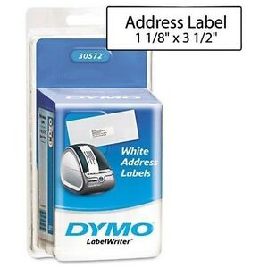 Dymo Labelwriter White Address Labels 1 1 8 X 3 1 2 2 260 Count Rolls 30572