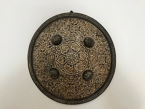 Rare Antique Handmade Engraved Iron Dhal Shield Decorative Mughal Style India