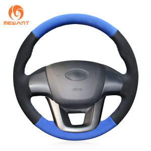 Hand Stitched Black Blue Suede Steering Wheel Cover For Kia K2 Kia Rio 2011 2013