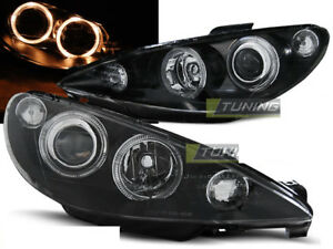 Pair Of Headlights For Peugeot 206 02 Halo Rims Black Ca Lppe27wd Xino Ca