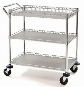 3 Shelf Rolling Steel Commercial Utility Cart Catering Tool Medical Nsf