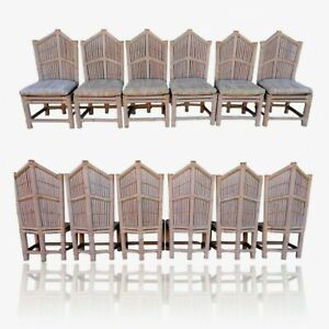 Vtg Lane Venture Bamboo Cathedral Dining Set 6 Chairs Table Base Pipe Rattan