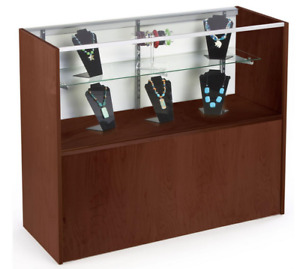 48 Cherry Retail Counter Display Showcase Cabinet Base Adjustable Glass Shelf