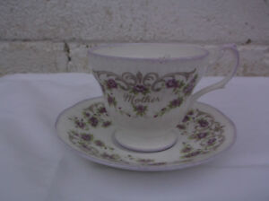 Mother Bone China Cup Saucer By Rosina China Co White Purple Flowers