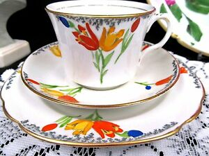 Rosina Tea Cup And Saucer Trio Painted Tulip Pattern Teacup England