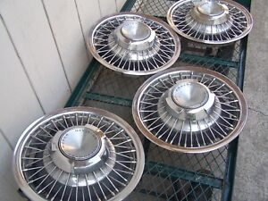 4 Pc 1969 1970 Chevrolet Impala Hubcap Wheel Covers 15 Wire Oem Good Condition