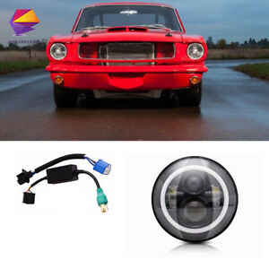 1pc 7 Angel Eye Round Projector Led Headlight For Ford Mustang 1965 1978