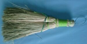 Indian Primitive Vintage Straw Whisk Hand Hearth Broom Hook To Hang Green Cover