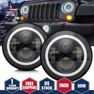 For Jeep Patriot Liberty 7 Inch Round Led Headlight Hi low Beam Halo Angle Eye