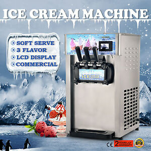 Commercial Soft Ice Cream 3 Flavor Steel Frozen Yogurt Cone Maker Machine 110v