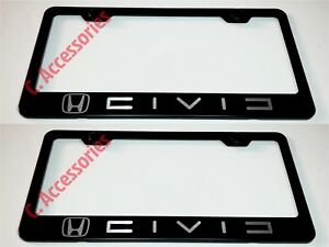 2x Civic Laser Style Black Stainless Steel License Plate Frame W Bolt Cap