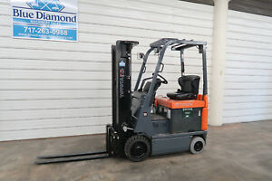 2013 Toyota 7fbcu15 3 000 Electric Forklift 3 Stage S s 682 Hours