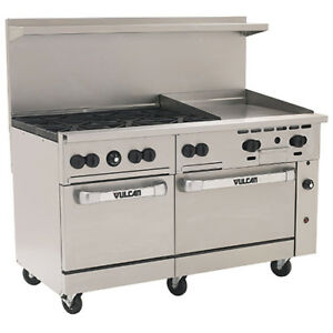Vulcan Endurance Lp Gas Range 60 w 6 Burners 2 Ovens 24 Manual Griddle