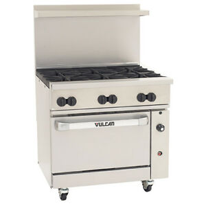 Vulcan 36s06b p 36 w Endurance Lp Gas Range 6 Burners And 1 Baker s Oven