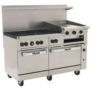 Vulcan Nat Gas Range 60 w 6 Burners 2 Ovens 24 Manual Griddle broiler