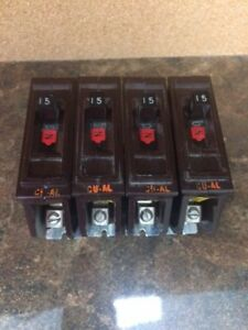 Lot Of 4 Wadsworth 15a 1p Circuit Breaker