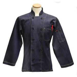 3 4 Sleeve Diamond Denim Navy Chef Coat Size Small