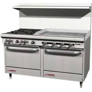 Southbend Economy Lp Gas Range 4 Burners 36 w Griddle On Left 2 Std Ovens