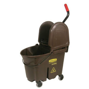 Rubbermaid Wavebrake Mop Bucket wringer Combo 35 Qt Down Press Brown