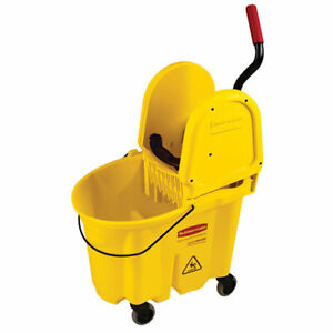 Rubbermaid Wavebrake Mop Bucket wringer Combo 35 Qt Down Press Yellow