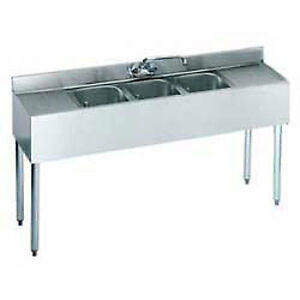 Krowne Metal 21 53c S s Underbar Sink 3 Centered Compartments 60 wx21 dx35 h