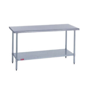 Duke 418 2460 Kitchen Work Table 60 wx24 dx36 h Stainless Steel Flat Top