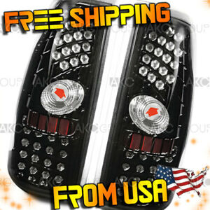 Fits 2000 2006 Chevrolet Silverado 1500 Glossy Black Clear Led Tail Light