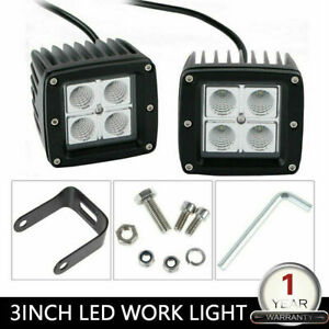 2x Cube Led Work Light Pods 4inch 27w Flood Off Road Driving Lawn Mower Atv 3x3