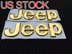 2pcs New Gold Jeep Front Tailgate Emblem Nameplate Badge Grand Cherokee