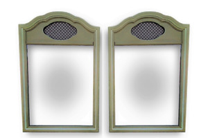 Vtg Pair 2 Wall Dresser Mirrors Henry Link French Provincial Hollywood Regency