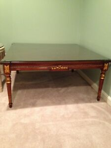 Karges Coffee Table Directoire Style Hand Carved Mahogany With Gilt Highlights