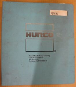 Hurco Sm1 Cnc Max32 Programming 704 0001 651 August 1993 Revision C