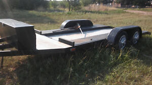 18 Foot Steel Equipment Flatbed Car Hauler Trailer With Toolbox