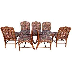Vtg Set 6 Mcguire Rattan Cathedral Back Dining Chairs Chippendale 1 Bonus Chair
