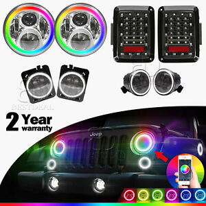 Multi color 7 Headlight drl Turn Signal fender Lamp tail Light For 2007 17 Jk