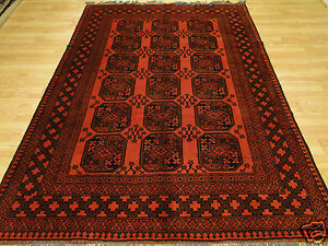 Handmade Wool Turkoman Bukhara Tekke Red Black Geometric Elephant Foot Rug 7x10