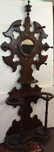 Victorian American Walnut Hall Tree Umbrella Rack