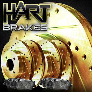 Fits Volkswagen Quantum Front Rear Gold Drill Slot Brake Rotors semi met Pads