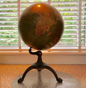 Antique Terrestrial Globe Weber Costello Co Chicago Illinois Usa Dated 1924 1935