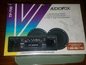 Rare Vintage Audiovox Tp 700 Am fm Car Stereo Cassette New In Box W Speakers