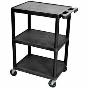Black Utility Cart Heavy Duty 3 shelf Mobile Industrial Service Garage Shop